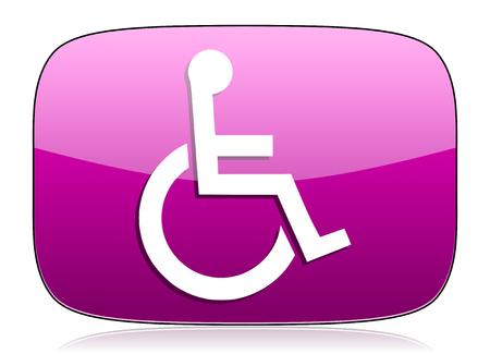 violet icon: wheelchair violet icon Stock Photo