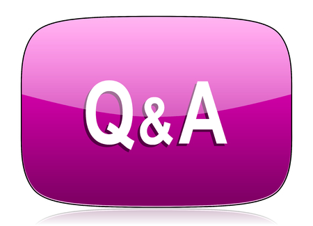 answer: question answer violet icon Stock Photo