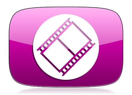 movie sign: pel�cula violeta icono de pel�cula s�mbolo de la muestra de cine Foto de archivo