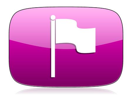 violet icon: flag violet icon Stock Photo