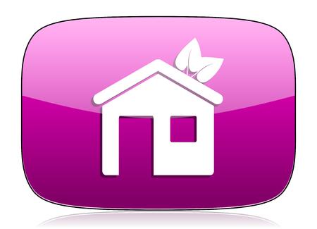 violet residential: house violet icon ecological home symbol