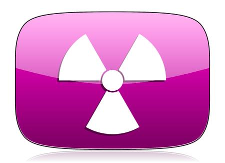 gamma radiation: radiation violet icon atom sign Stock Photo