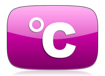 celcius: celsius violet icon temperature unit sign Stock Photo