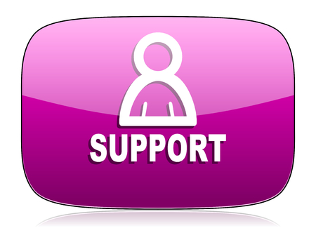 violet icon: support violet icon Stock Photo