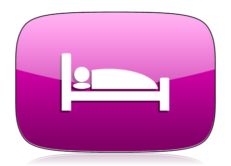 violet icon: hotel violet icon bed sign Stock Photo