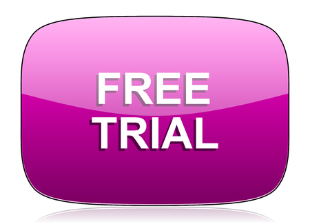 trial: free trial violet icon Stock Photo