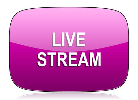 live stream: live stream violet icon Stock Photo