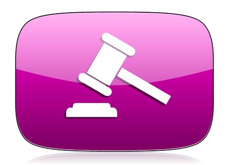 verdict: auction violet icon court sign verdict symbol Stock Photo