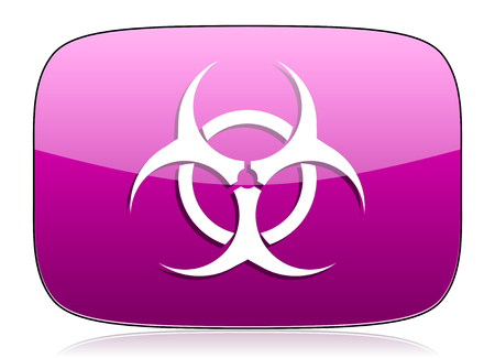 bacterioa: biohazard violet icon virus sign Stock Photo