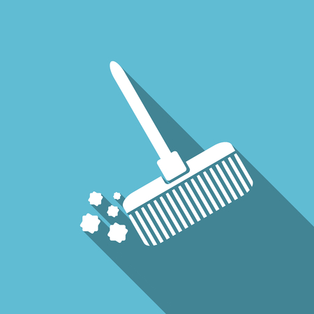 cleanse: broom flat icon clean sign Stock Photo