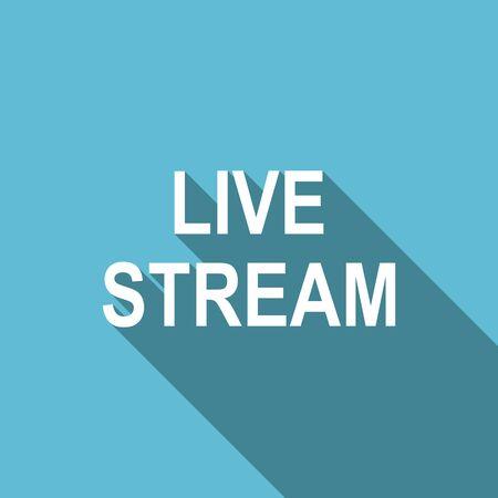 livestream: live stream flat icon Stock Photo