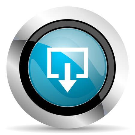 round button: exit icon Stock Photo
