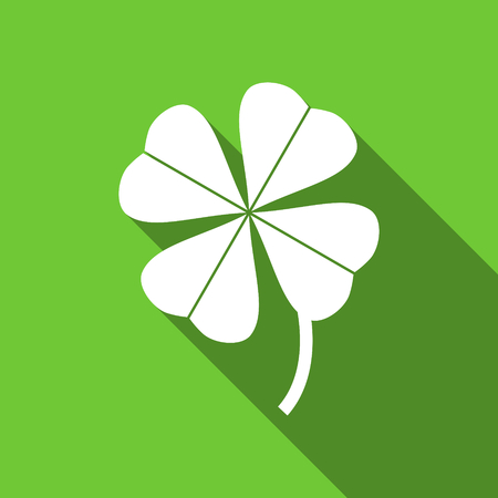fourleaf: four-leaf clover flat icon Stock Photo