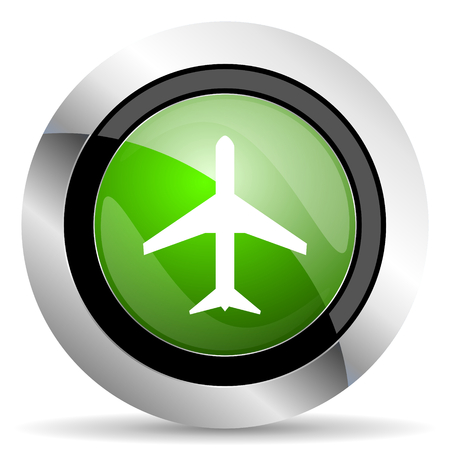 airport sign: plane icon, green button, airport sign