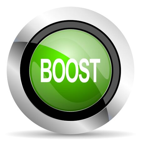 boost: boost icon, green button Stock Photo