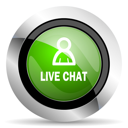 green button: live chat icon, green button