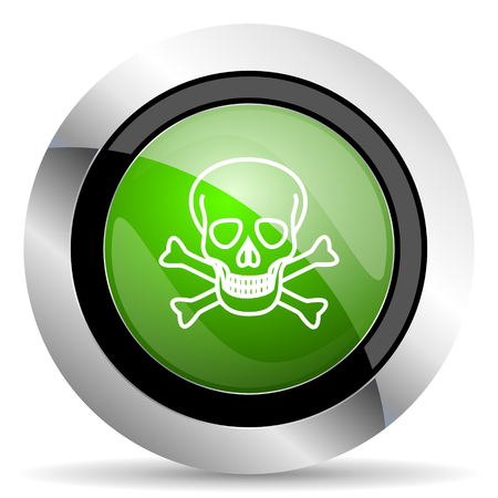 pirating: skull icon, green button, death sign