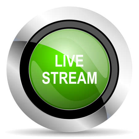 live stream: live stream icon, green button