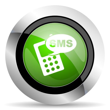 sms icon: sms icon, green button, phone sign