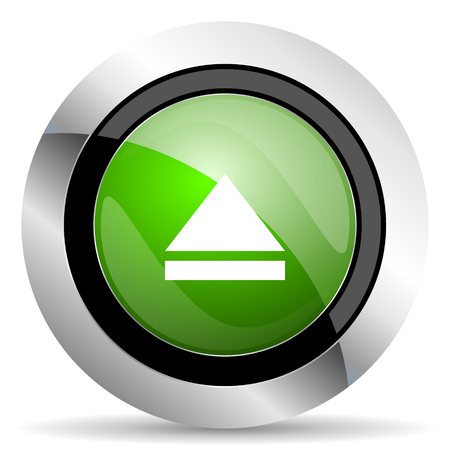 eject icon: eject icon, green button, open sign