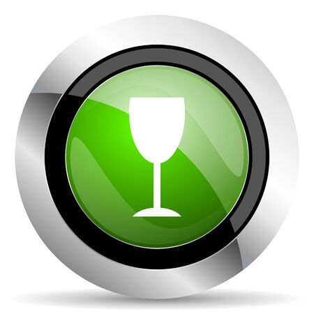 champain: alcohol  icon, green button, glass sign Stock Photo