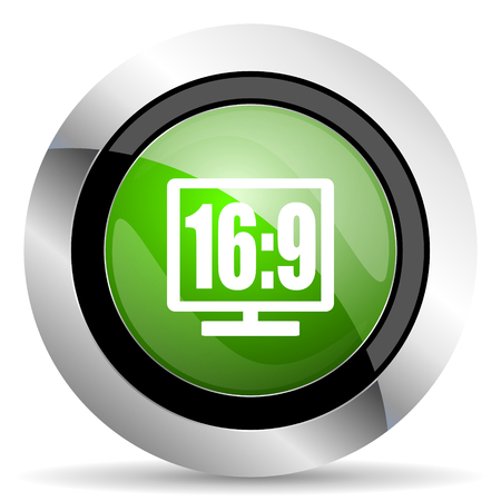 16: 16 9 display icon, green button