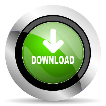 download icon: download icon, green button Stock Photo