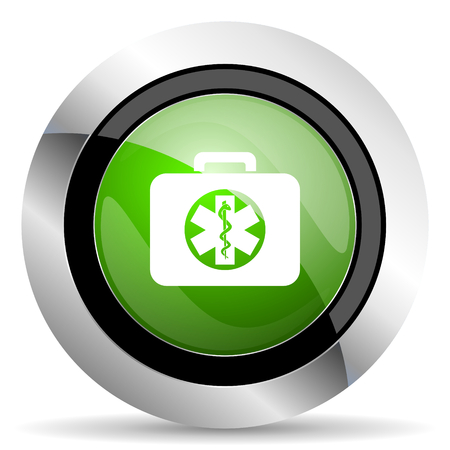 emergency sign: rescue kit icon, green button, emergency sign