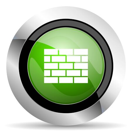 firewall icon: firewall icon, green button, brick wall sign
