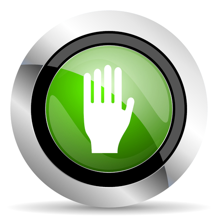 stop icon: stop icon, green button, hand sign
