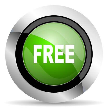 free icon: free icon, green button Stock Photo