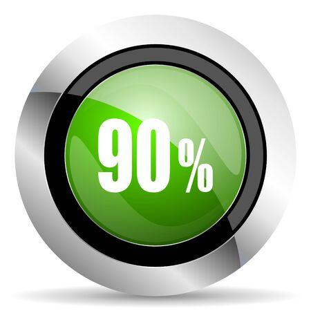 90: 90 percent icon, green button, sale sign Stock Photo