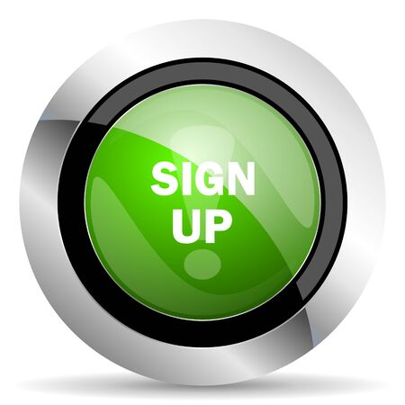 green button: sign up icon, green button