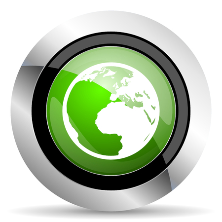 parallels: earth icon, green button, world sign Stock Photo