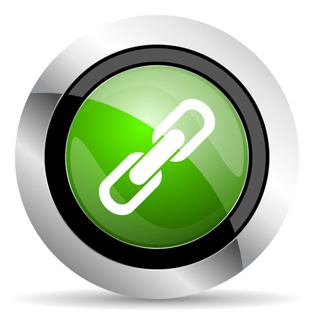 link icon: link icon, green button, chain sign