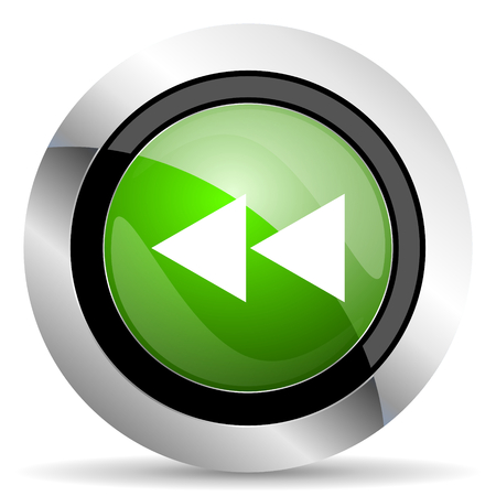 rewind icon: rewind icon, green button Stock Photo