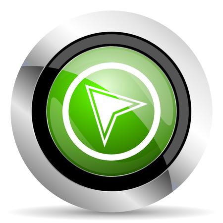 navigation icon: navigation icon, green button