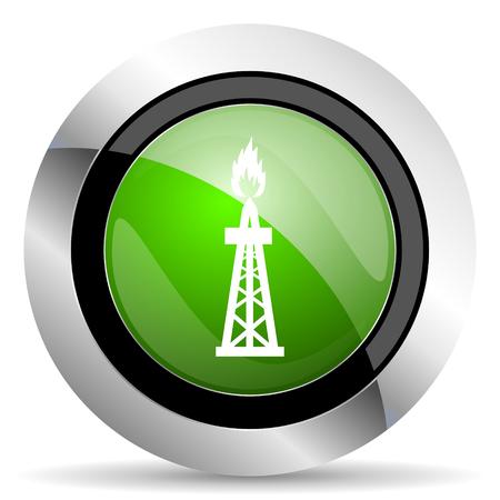 gas icon: gas icon, green button, oil sign Stock Photo
