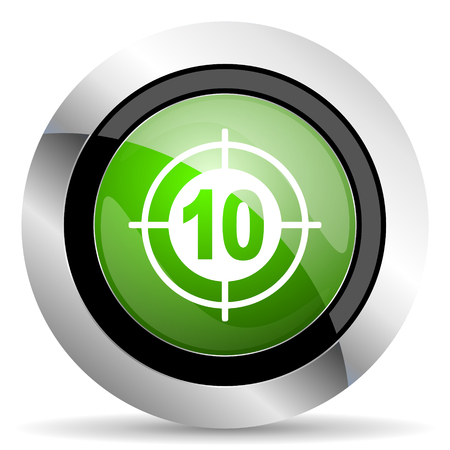 green button: target icon, green button