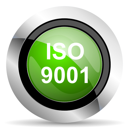 din: iso 9001 icon, green button Stock Photo