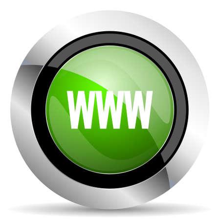 www icon: www icon, green button Stock Photo