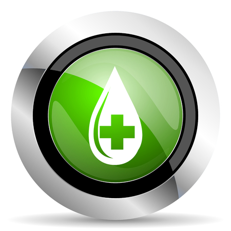 green button: blood icon, green button