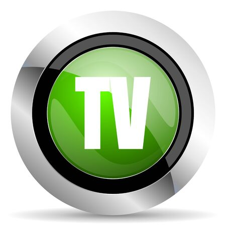 round button: tv icon, green button, television sign
