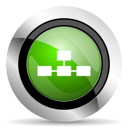 database icon: database icon, green button Stock Photo