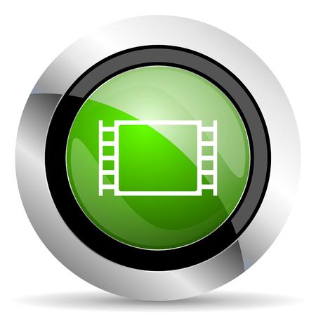 movie icon: movie icon, green button Stock Photo