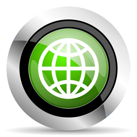 meridians: earth icon, green button