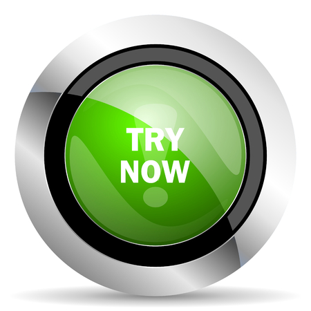 try: try now icon, green button Stock Photo