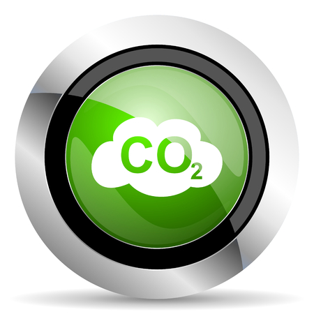 dioxide: carbon dioxide icon, green button, co2 sign