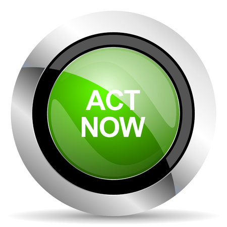 act now icon, green button Stock Photo