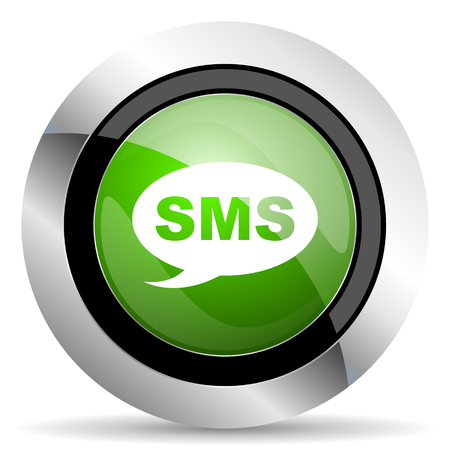 sms icon: sms icon, green button, message sign